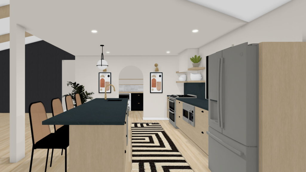 Modern kitchen design with floating shelves and cool earth tones.
