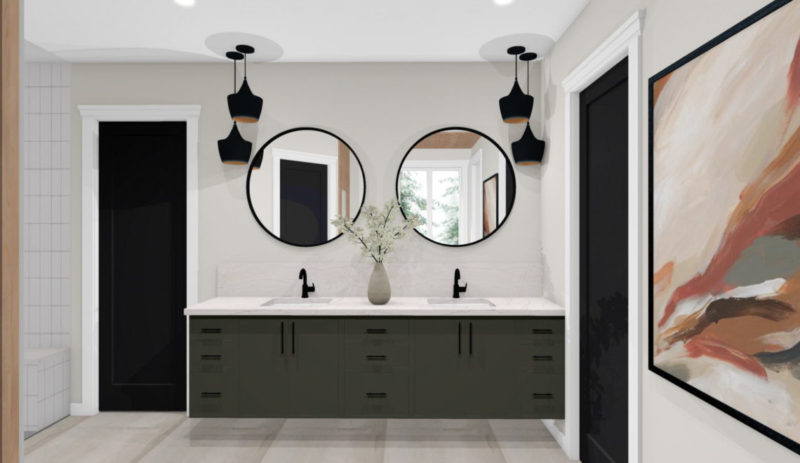 Modern bathroom with duel inset sinks and dark cabinetry.