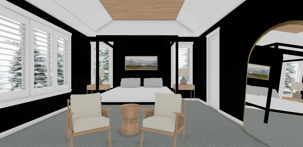 Modern bedroom with large open windows and a trey ceiling.
