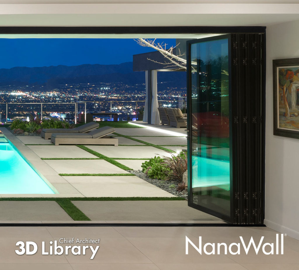 Window wall opening from interior, looking out to a pool patio with an urban night scene as the background.