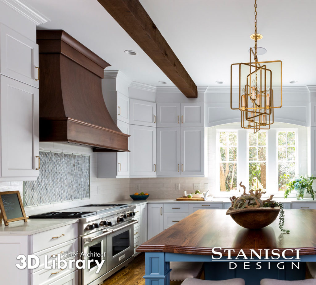 Traditional kitchen with blue table island, light grey cabinets, and a large dark wood hood.