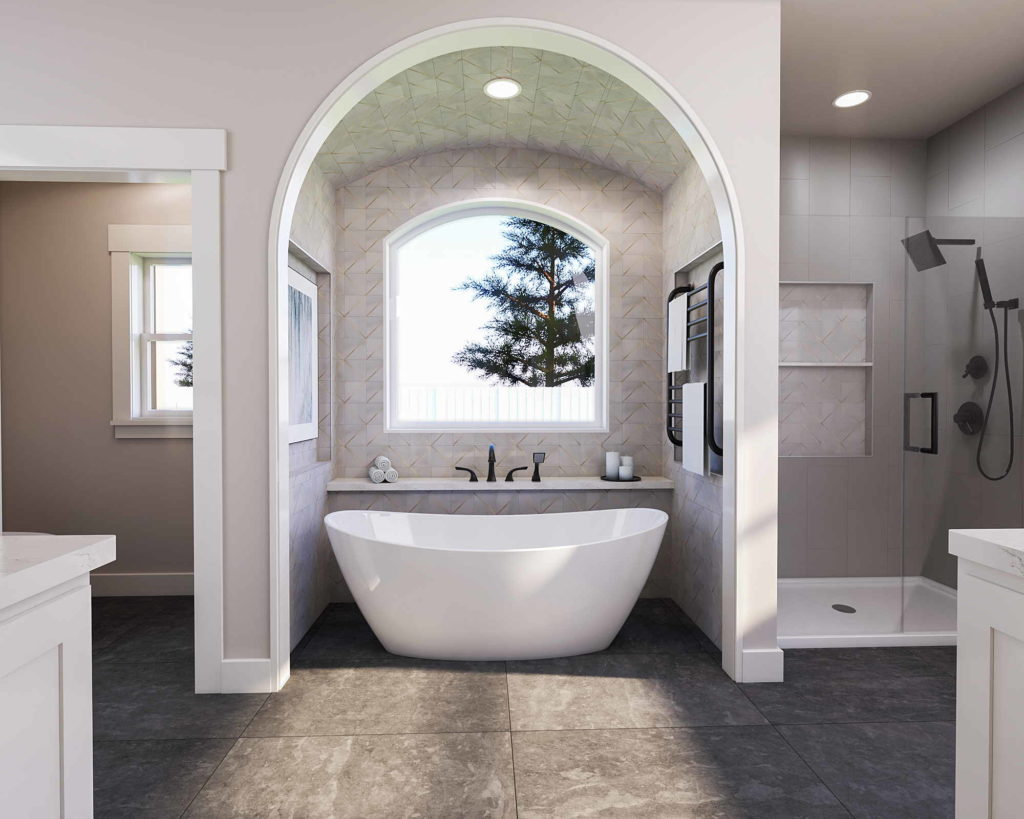 Captivating bathroom with a Roman arch and marbled mosaics.