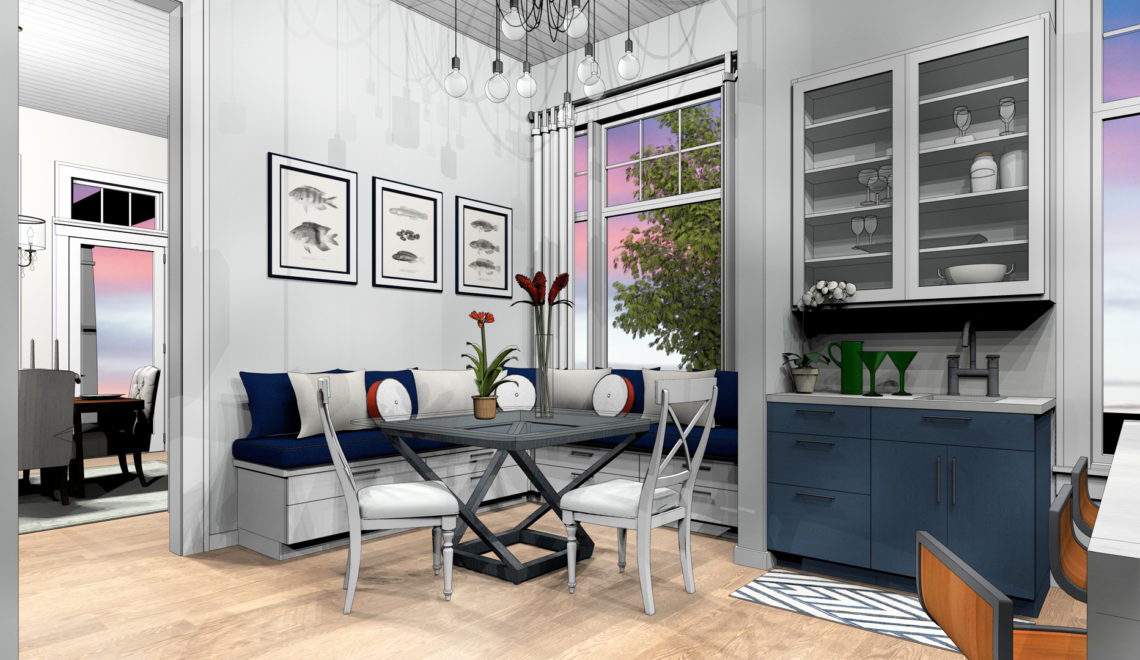 Farmhouse breakfast nook with blue accents.