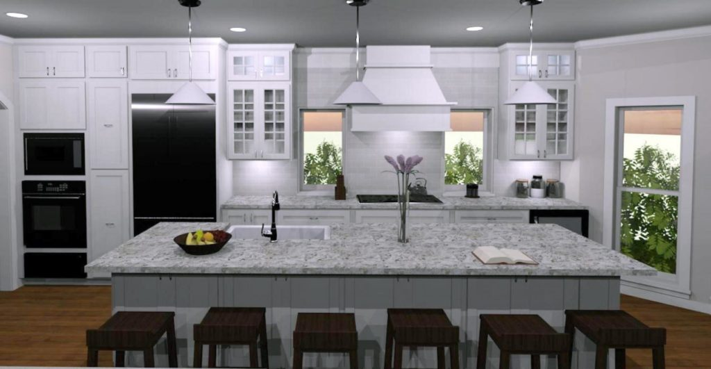Large kitchen design to ensure better traffic flow with a large island and multiple cabinets for storage.