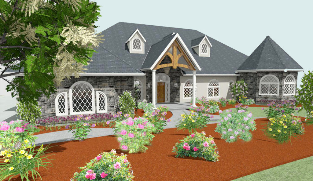 Residential design with gray brick accents, a front porch living area, and entryway trusses.