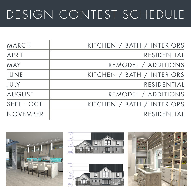 Chief Architect monthly design contest schedule.