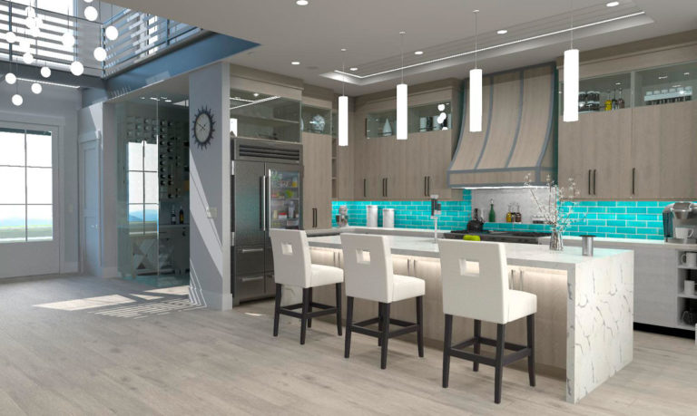 Rendering of a modern kitchen with a large island.