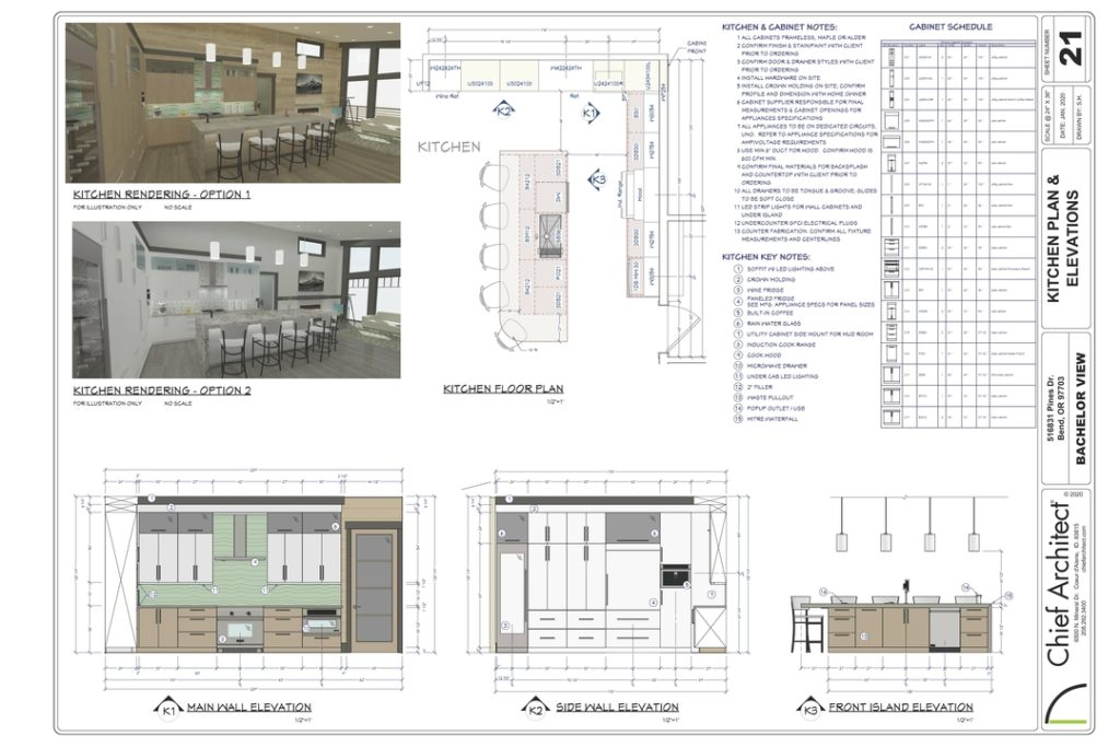 Image of a kitchen layout sheet made in chief architect software