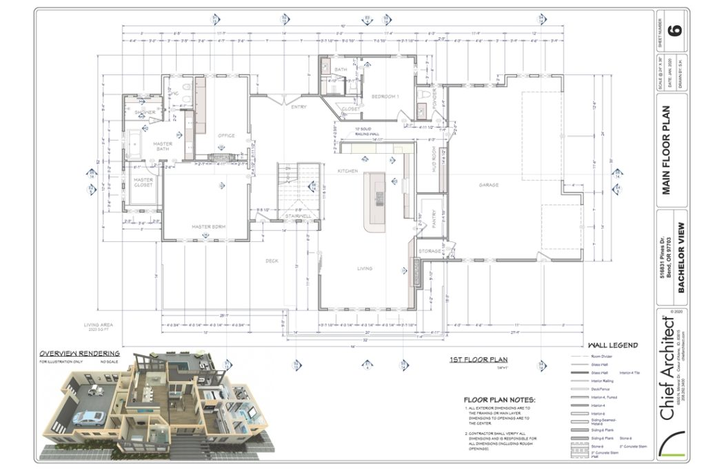 Image of a layout sheet made in Chief Architect Software