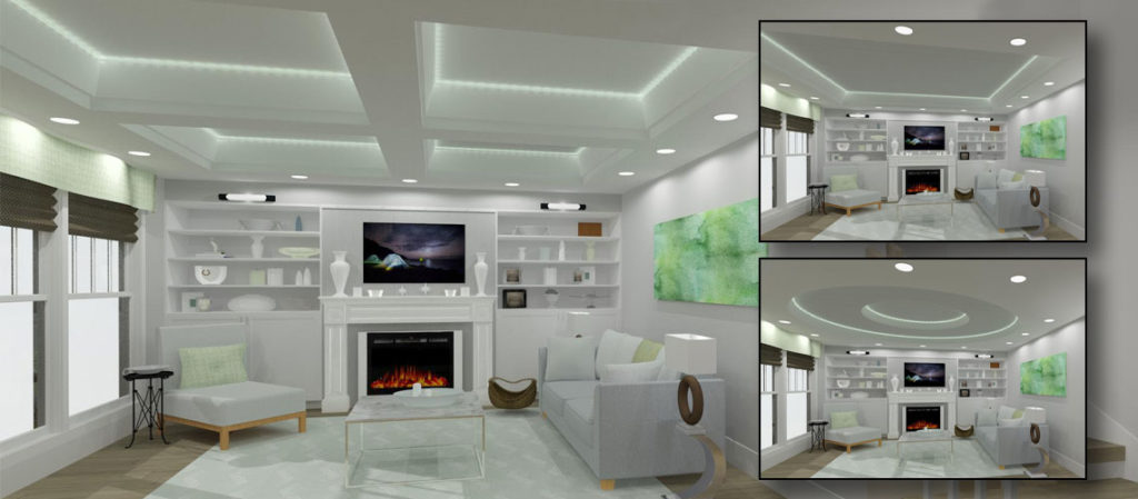 A living room with various trey ceiling options made in Chief Architect Software.