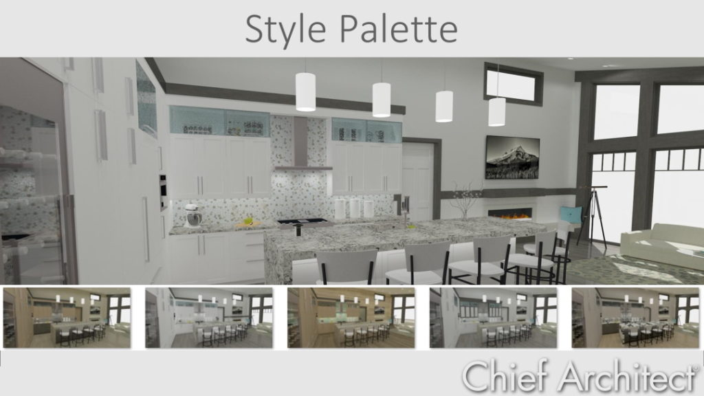 image of various designs using the style palette tool in chief architect