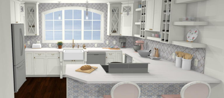 Shabby chic kitchen with large windows for natural light with gray neutral colors.