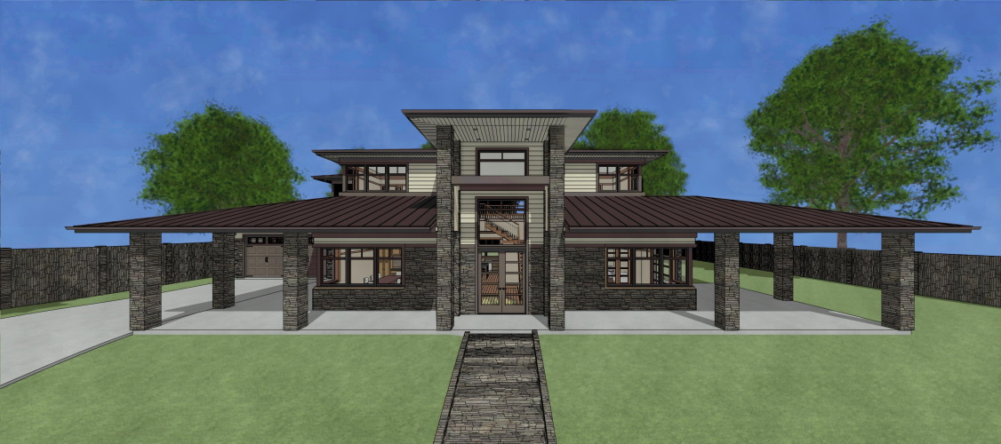 Watercolor residential rendering with a brick pony wall and a hip roof.