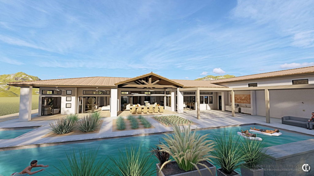 Backyard residential design with a swimming pool, large outdoor seating area, and an outdoor kitchen.