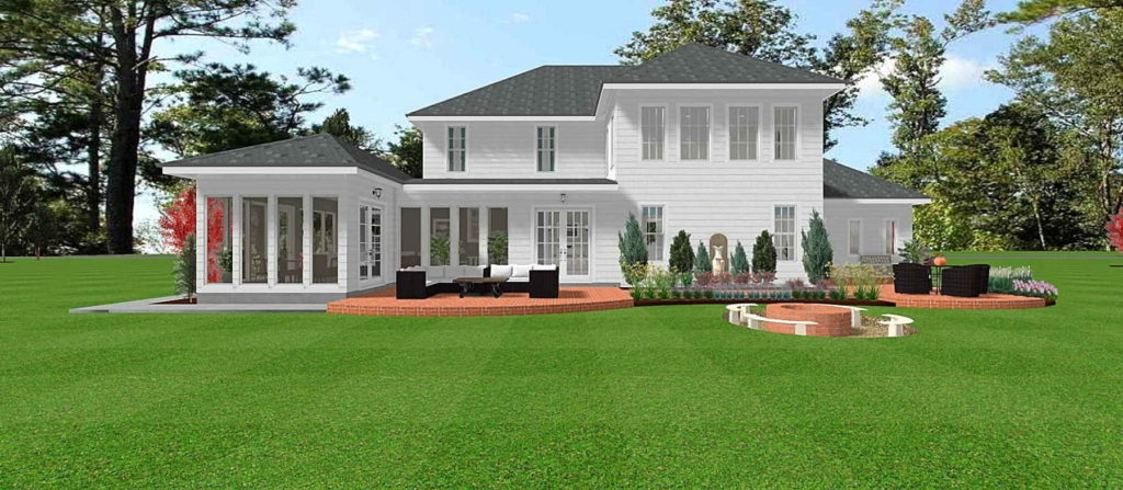 Modern Colonial home with two patios and a fireplace with a seating area.