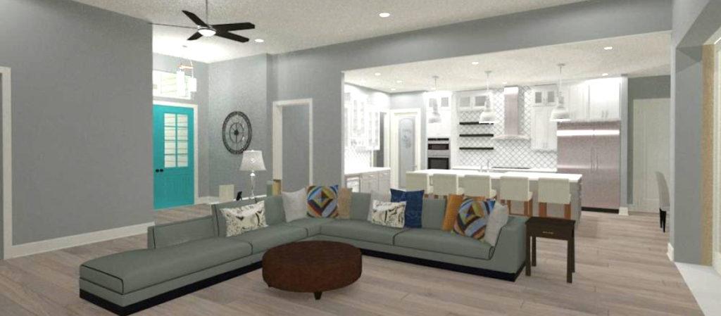 Rendering of open floor plan with kitchen overlooking living room.