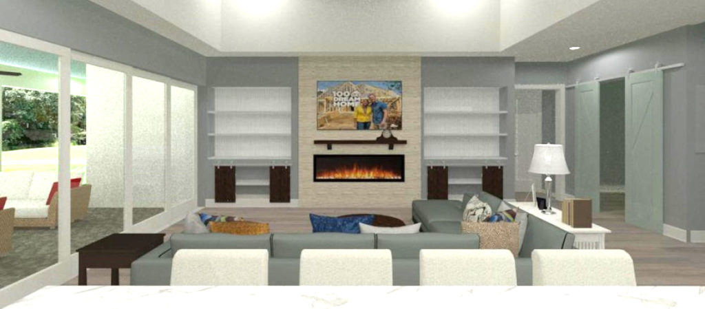 Rendering of Kitchen View into living room with built ins and stone fireplace.