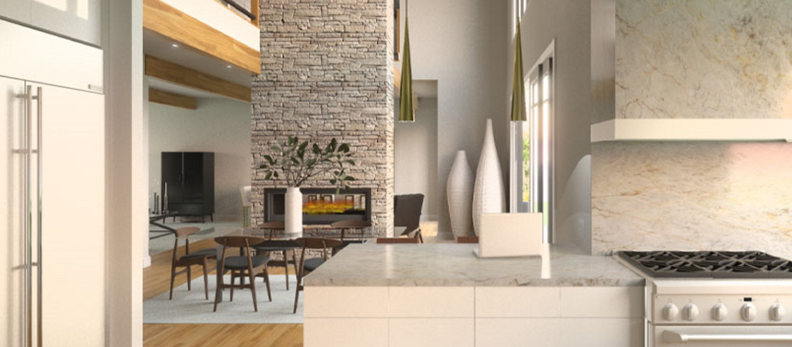 Kitchen rendering with white cabinets and marble backsplash