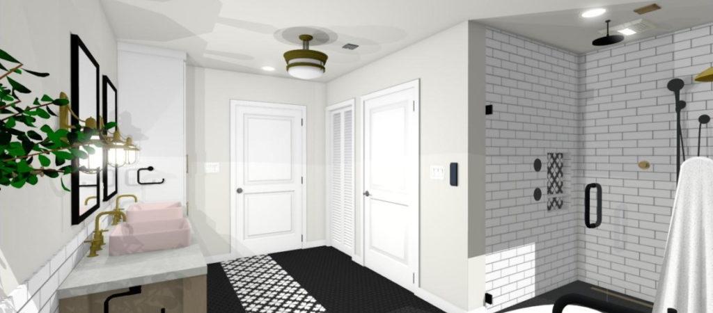 Semi flush light with closet laundry room