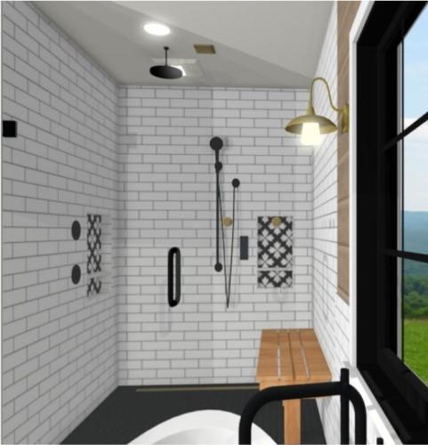 Black and white rain shower with handheld shower head and white tile with black and white niches