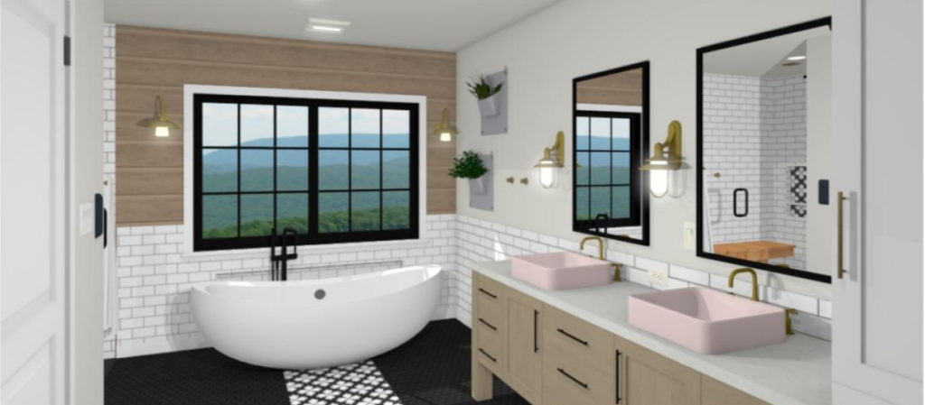 Bathroom Design with soaking tub and black and white tiled floor