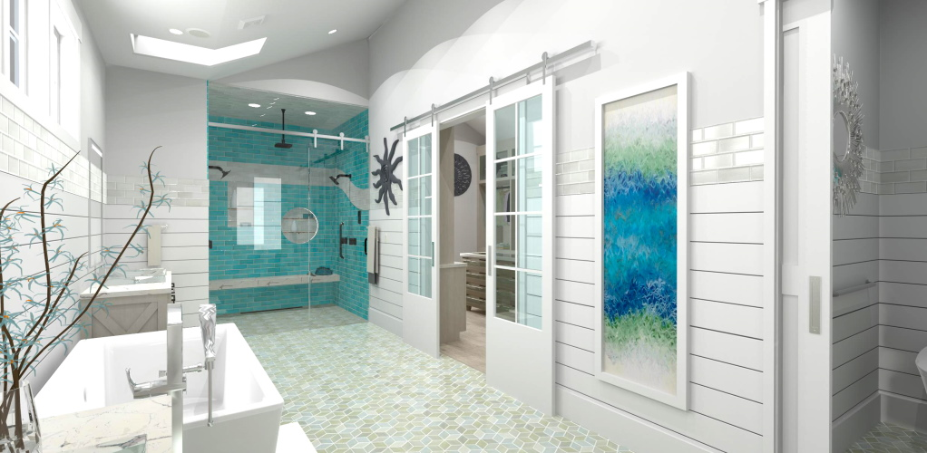Farmhouse bathroom design with a shiplap accent wall and a blue tile shower.
