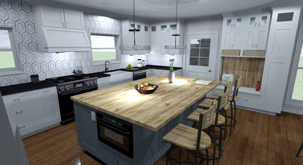Kitchen remodel with a hexagon backsplash and white cabinets.