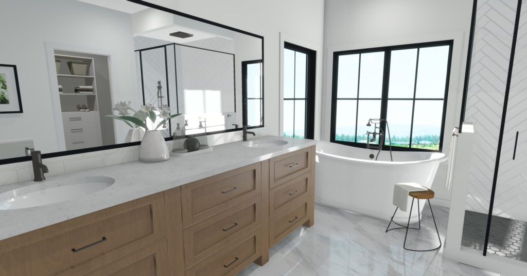 Bathroom rendering with a freestanding tub and natural wood cabinets.