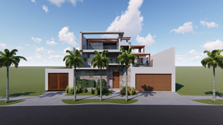 Modern three-story home with clean white lines and a second-floor outdoor seating area
