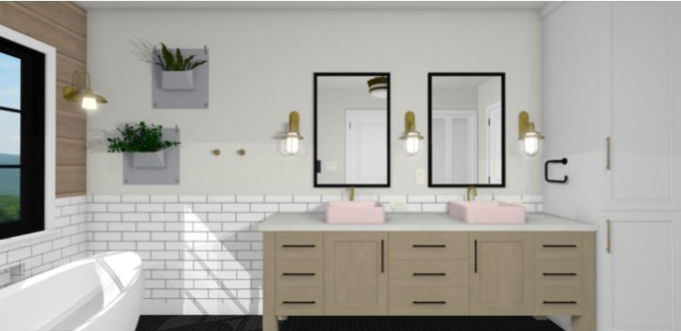 Bathroom design with blush nood basin, sconces, wall planters, and soaking tub