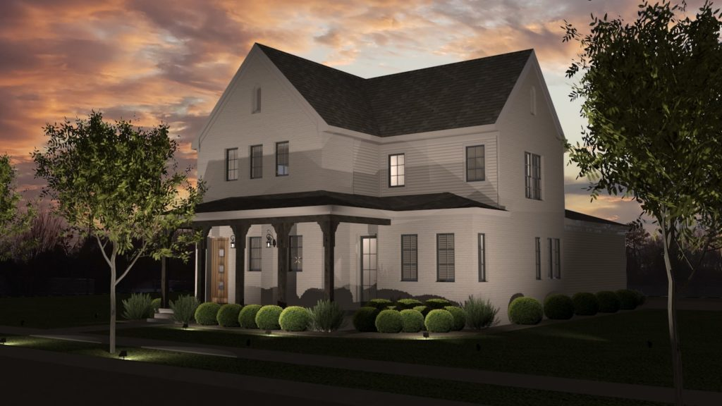 Traditional 2 story home with white siding and gable roofs