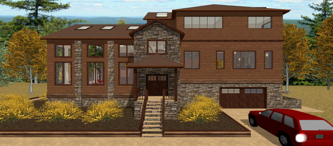 Modern Mountain home with a brown wood exterior.