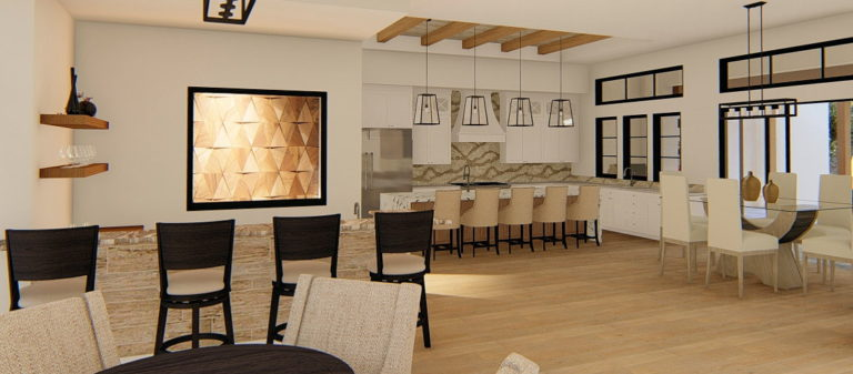 Modern farmhouse kitchen with a tray ceiling and dining nook