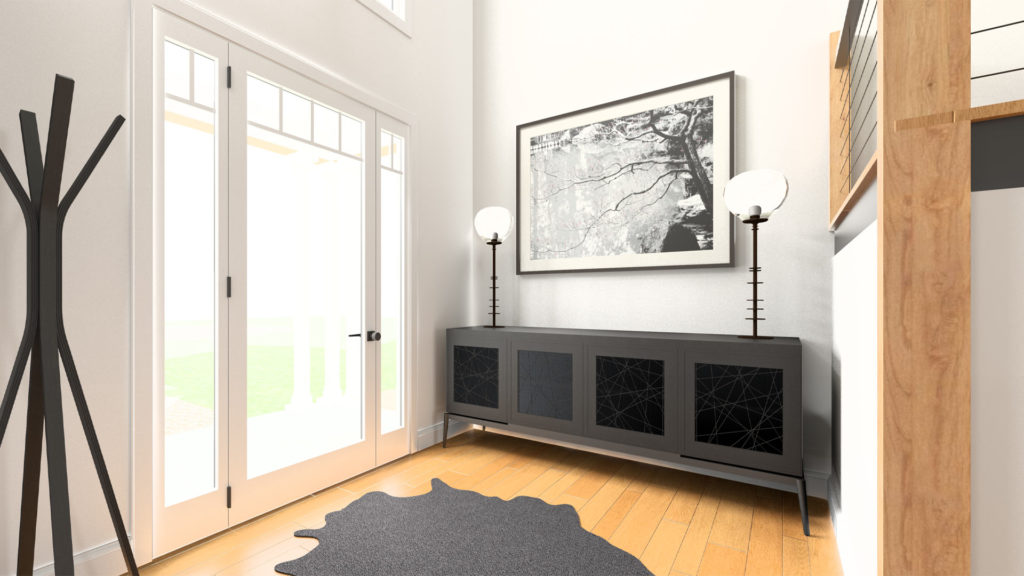 A rendering of an entryway with a modern buffet table that has a lamp on each end of it flanking a framed photograph of a cherry blossom tree. The entry uses the principles of feng shui.