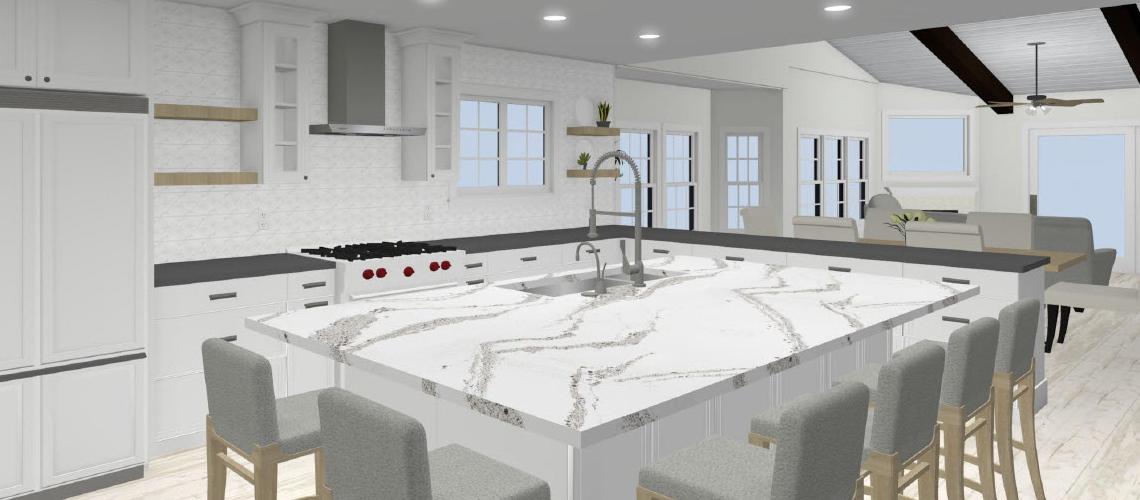 Open concept kitchen rendering