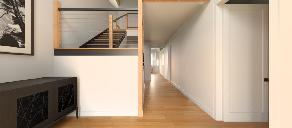 A rendering of a hallway that is bright, open, and free of clutter. There are cream walls, natural oak floors and black accents.