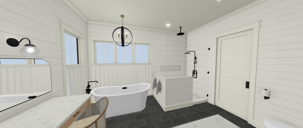 Bathroom design with freestanding tub and a shiplap wall