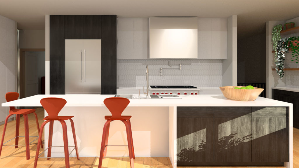 A rendering of a kitchen with a mix of simple white cabinetry and black wooden cabinets. There are rust colored stools at the counter. This kitchen was designed using the principles of feng shui.