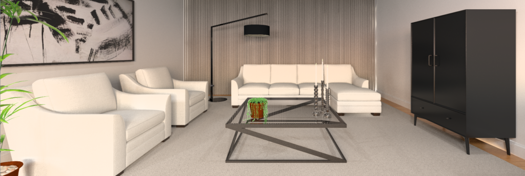 A rendering of a living room arranged using the principles of feng shui with white furniture and area rug, oak flooring and a contemporary coffee table.