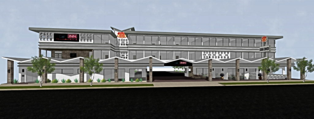Elevation view of remodeled hotel