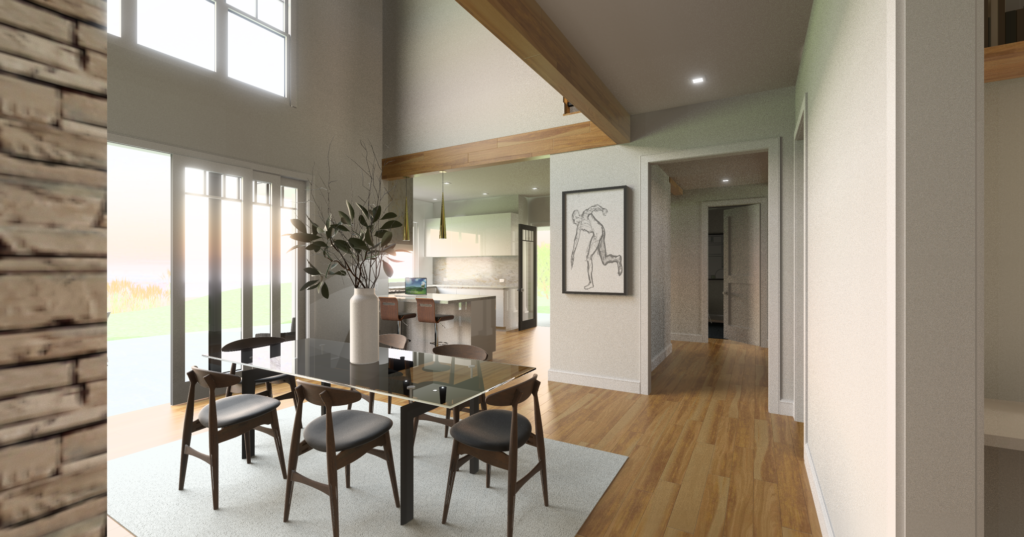A modern dining room rendering with natural oak flooring and a glass top dining table with a vase of magnolia leaves on it.
