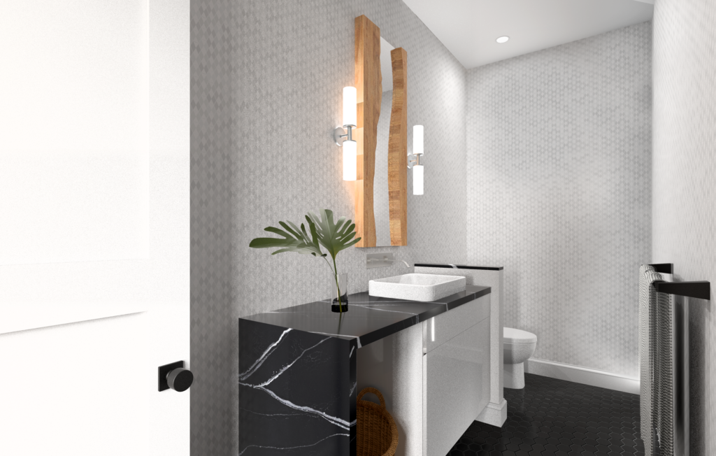 A bathroom rendering that was designed using the principles of feng shui. This bathroom has a black stone waterfall countertop, black hexagon tile floor, a subtle wallpaper and wood accents.