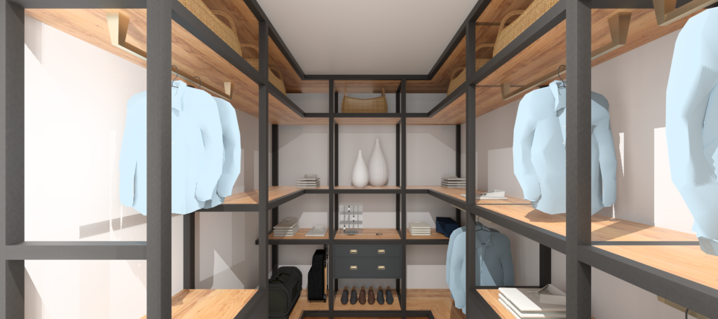 An orderly walk in closet with lots of open space. It was designed with the principles of feng shui in mind and is shown with men's dress shirts, shoes, and accessories.