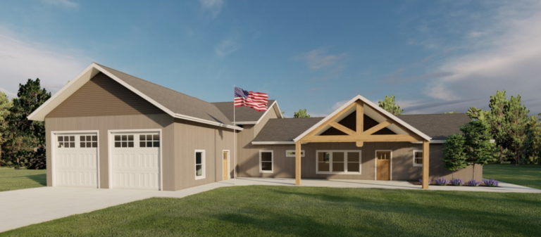 Home Design with entryway trusses