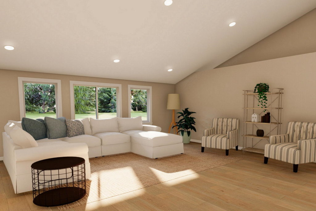Living space with vaulted ceiling