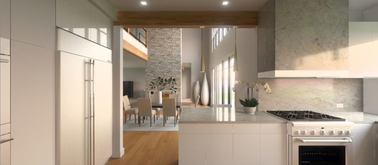 A kitchen rendering designed using the principles of feng shui. The white stone countertops are kept clear of gadgets. There are white cabinets and wooden accents. The dining room can be seen in the background.