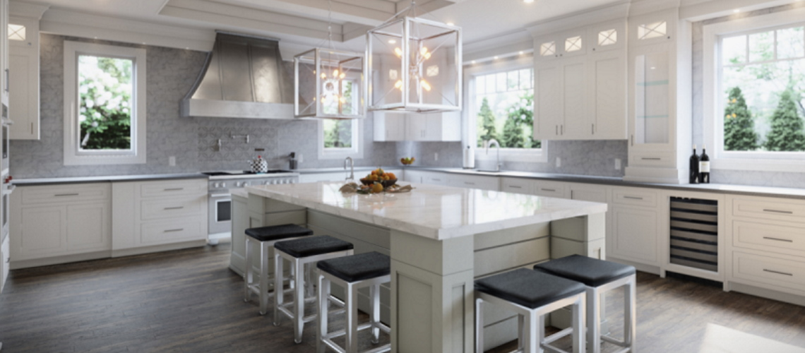 Kitchen space with large island and full backsplash